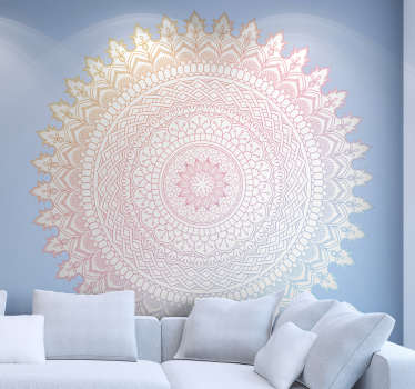 This mandala has a great decorative effect! The floral wall sticker with a mandala in soft pink tones is a great decoration idea for the bedroom!