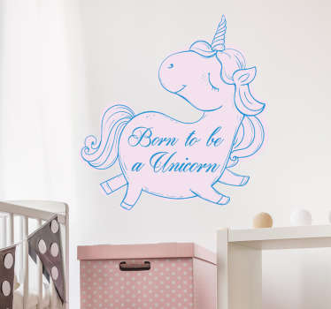 "Children's room sticker with a pink unicorn, proudly walking and looking back with the text: ""Born to be a unicorn"". No stains after removal!"