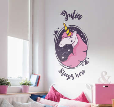 Decorate your child's room with these colorful personalized wall stickers with an image of a unicorn. Choose the name to put on this sticker!