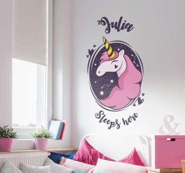 Muursticker eenhoorn sleeps here