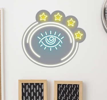 Cooles Wandtattoo mit einem Auge im Neon Leuchtreklame Stil, welches Ihre Räumlichkeiten zum Strahlen bringt.