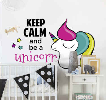 "Offer your kids this fantastic illustration wall sticker, with a cute and positive message like ""keep calm and be a unicorn""."