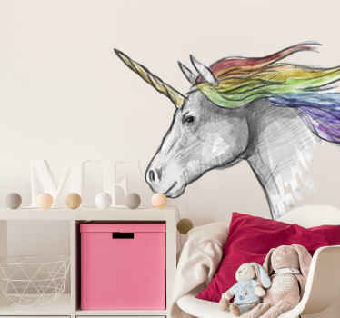 Vinyl childrens room sticker with a drawing of a cute unicorn's head with its magic horn and rainbow-colored hair. High quality!