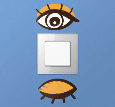 Schakelaarsticker open en gesloten oog