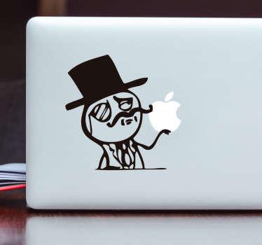 adesivo pc uomo con cappello e monocolo
