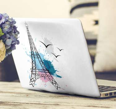 Autocollant ordinateur portable tour Eiffel