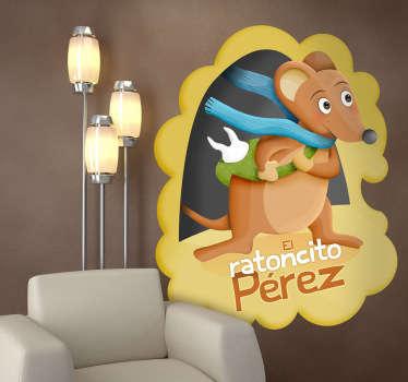 Ilustración original del ratoncito Pérez con una bufanda azul. Uno de los vinilos infantiles de la colección cuentos clásicos.