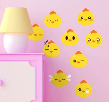 Set pegatinas emoticono pollito