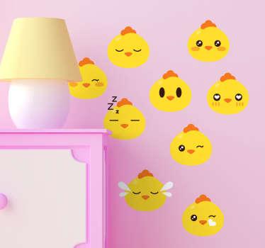 Conjunto de adesivos decorativos emojis pintainho