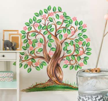 Akvarelli puu sisustustarra