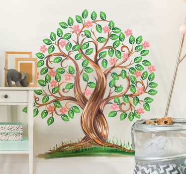 Vinilo decorativo árbol acuarela