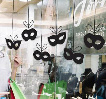 This shop window sticker will help you decorate your shop appropriately for carnival. A sticker with carnival masks to draw attention from customers.
