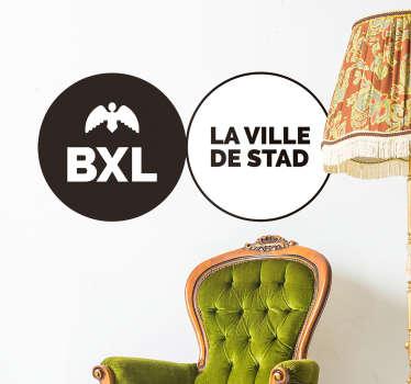 Sticker mural représentant des tampons avec le symbole de Bruxelles. Idéal pour décorer votre salon