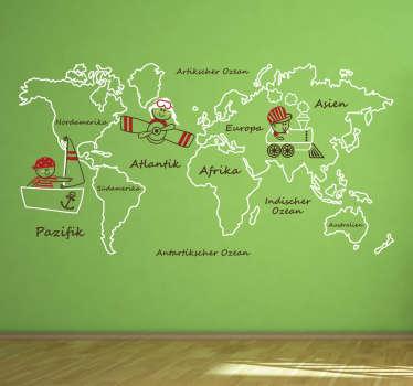 Süßes Wandtattoo mit einer Weltkarte für kleine Entdecker. Perfekt um das Kinderzimmer zu dekorieren.