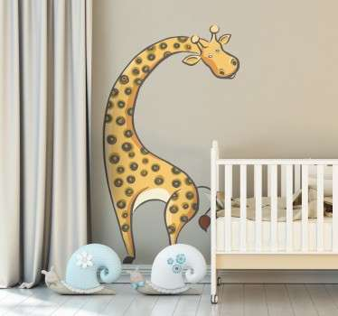 A fun and original illustration of a monochrome  giraffe. A brilliant giraffe wall sticker for decorating the nursery or play areas for children.