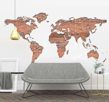 Bricks texture world map wall sticker with a visual effect appearance to decorate any space of choice. Buy it in any size needed.