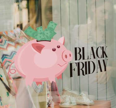 Klistremerke for svart fredag gris salg