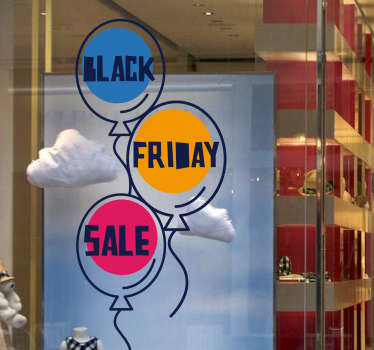 Announce the Black Friday discounts with this funny and colourful window decal sticker that will fit great in your shop front window.