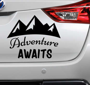 Adventure  car vinyl sticker to decorate any vehicle space. The design features mountain and text that says '' adventure awaits you''.