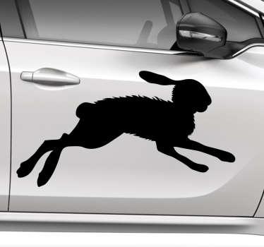 Autosticker voor hardlopers waarvan de afbeelding een snelle rennende haas is. Ideaal om uw auto mee te versieren.