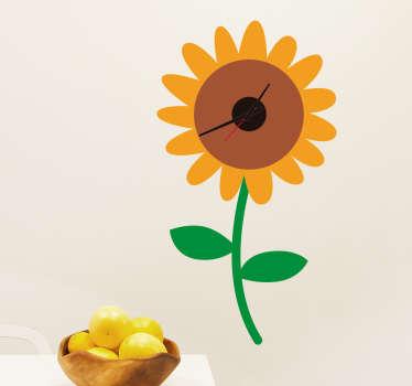 Schöne Wandtattoo einer Sonnenblume mit Uhr. Tolle Dekorationsidee für das Kinderzimmer mit praktischem Nutzen.