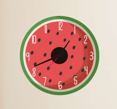 Original decorative wall clock sticker with the illustration of a piece of your favorite fruit, ideal for your kitchen. Zero residue upon removal.