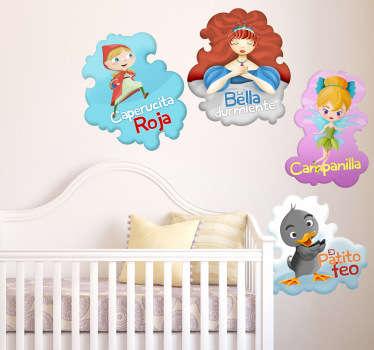 Colección de pegatinas infantiles de cuentos clásicos que incluye: Bella durmiente, Campanilla, Caperucita Roja y el Patito Feo.