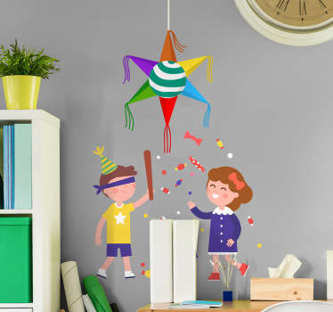 Decorative festive vinyl decal of Posadas piñata. This colorful design is amazing for the bedroom of your kid. Buy it in any needed size.