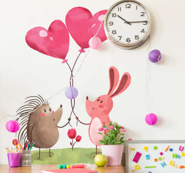 Illustration decorative sticker with the representation of a porcupine and a pink rabbit in the meadow holding two intertwined heart balloons.