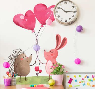 Adesivo per bambini riccio e coniglio