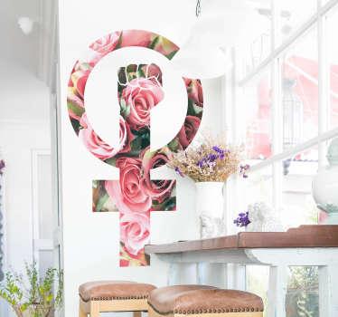 Pegatina lucha feminista floral