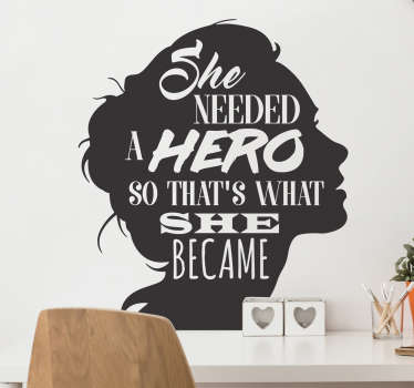 Hero tekstitarra naisen siluetti