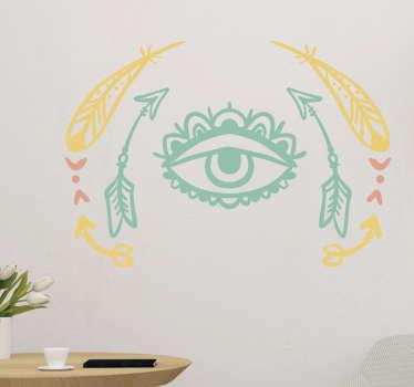 Dá cor às sua salas ou quartos com a ajuda deste vinil parede com estilo tribal, com desenhos de setas, penas e com o magnífico olho tribal.
