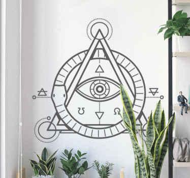 Autocollant mural représentant une pyramide avec un oeil à l'intérieur.
