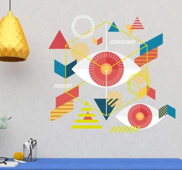 あらゆるスペースを美しくする装飾的な家の壁のステッカーは、マルチカラーのさまざまな幾何学的形状の要素でできています。どのサイズでもご利用いただけます。