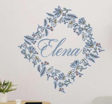 Sticker personnalisable triangle de fleurs
