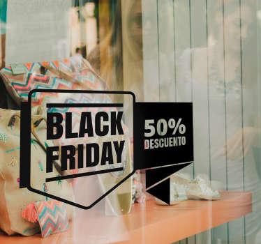 Vinilo pensado para la decoración de escaparates de negocios en el que se anuncia las rebajas ofrecidas el día de Black Friday.