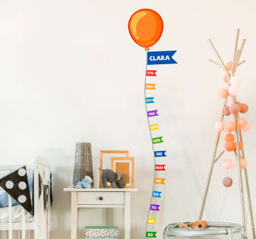 A fantastic meter height chat decal idea for the bedroom of children. A design with colorful inflated balloon with calibrated units in style .