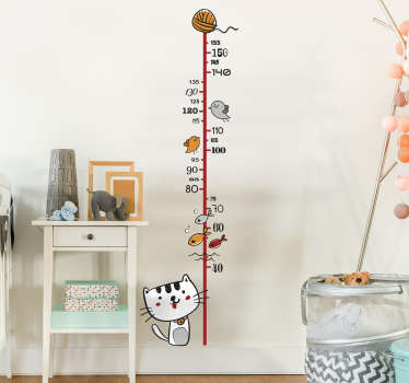 Funny heigh chart wall sticker with various animals such as cats, fish and birds. The animal sticker is in vibrant colors and high quality!