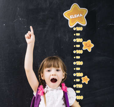 Personalise the name of a child on our original space meter height chart decal to decorate bedroom space. It is adhesive and easy to apply.
