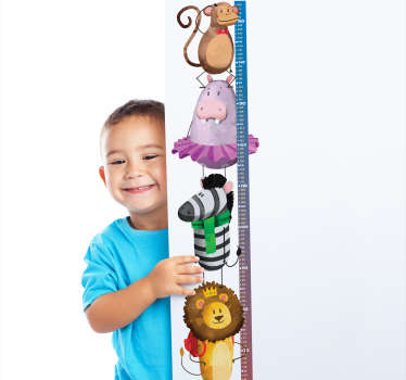 Decorative safari infant meter height chart sticker for children bedroom space. It is featured with different cute baby animals