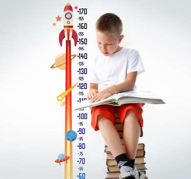 Rocket meter height chart wall sticker for children bedroom with the design of the earth, stars and rocket. It is customisable in any size needed.