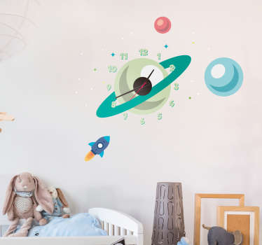Make your child learn the time with this clock sticker shaped like the planet Saturn and its stars. Discounts available.