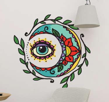 Pegatina tattoo luna y ojo