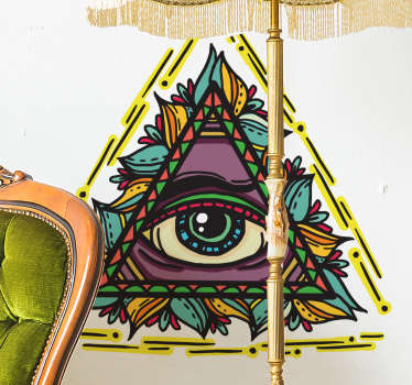 Original decorative sticker with the classic representation of a divine eye with an aesthetic close to the world of tattooing.