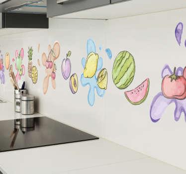 Frise murale adhésive très originale. Cet autocollant représente une frise avec différents fruits, parfait pour votre cuisine.