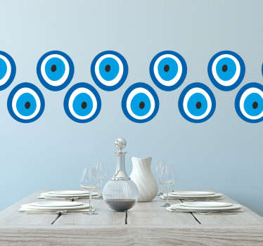 Decorative wall border sticker designed with prints of talisman evil eye. It size is customisable to ant requirement. Easy to apply and durable.