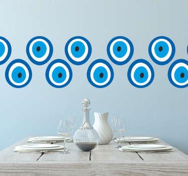 Sticker frise motifs oeil bleu