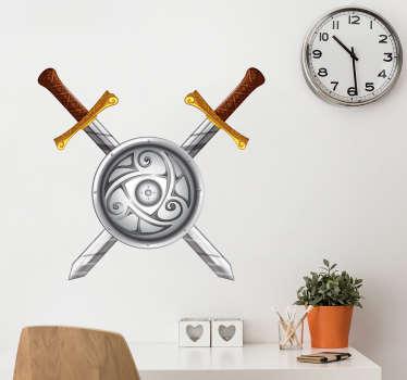 Vikinge skjold og sværd sticker