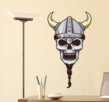 Muursticker viking doodshoofd